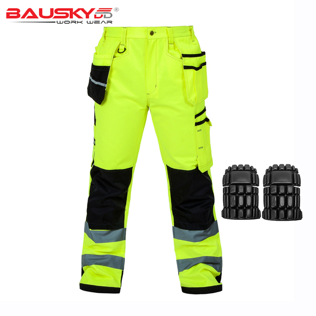 Reflective Men Working Pants High visibility Fluorescent Yellow Multi-pockets Work Trousers With Knee Pads Workwear Cargo Pants