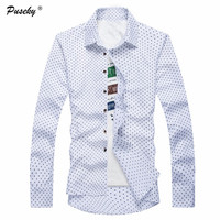 2017 New Men S Fashion Mushroom Dotted Print Shirt Men S Slim Business Tops Casual Brand