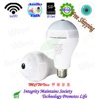 Лампа и Panronama Камера в одном WI-FI 1080 P 720 P Камера ONVIF P2P IP Cam сеть видеонаблюдения monito sd-карта Live talk