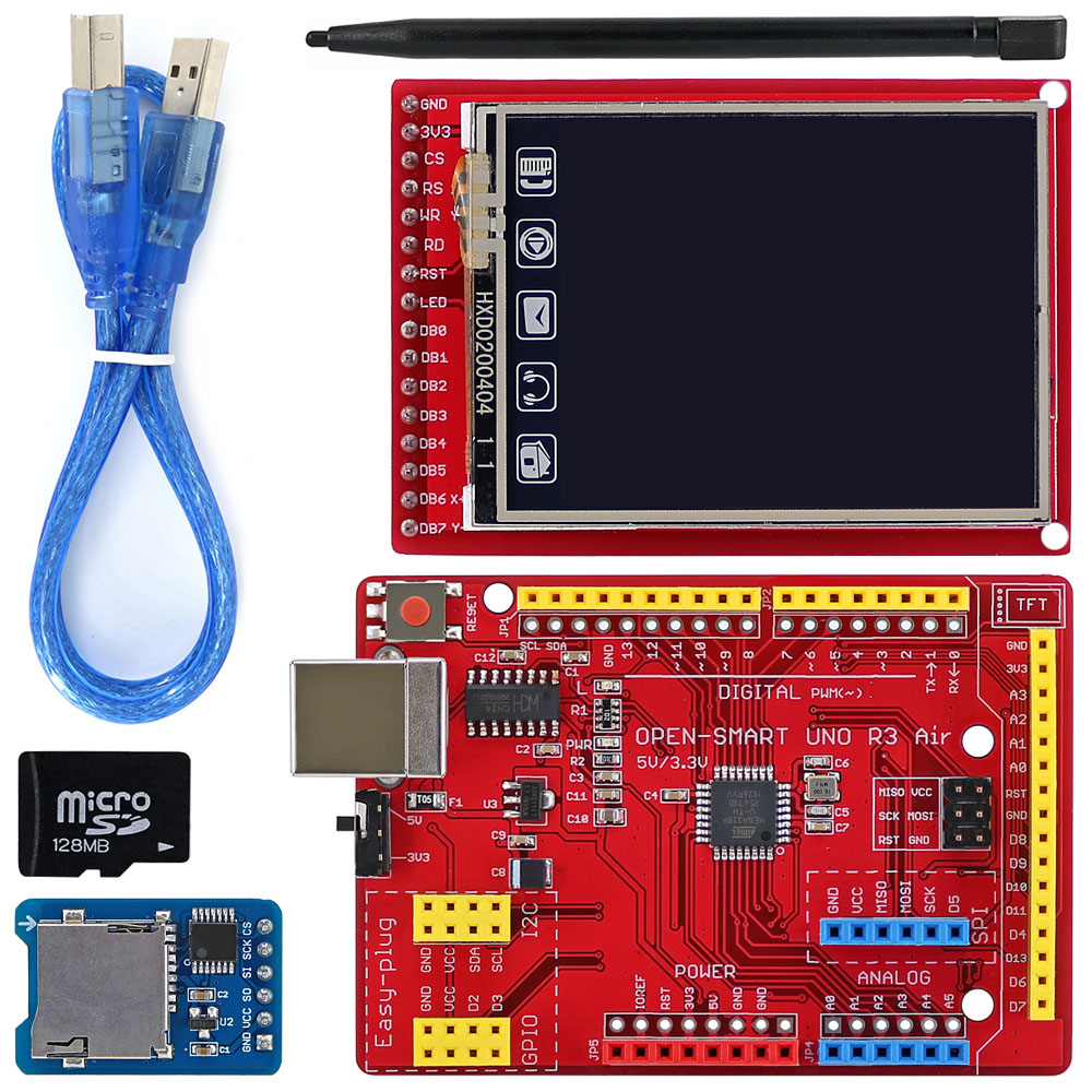 OPEN-SMART 2.0 Inch 176*220 TFT LCD Touch Screen Breakout Module Kit With Easy-plug UNO R3 Air Board For Arduino UNO R3 / Nano