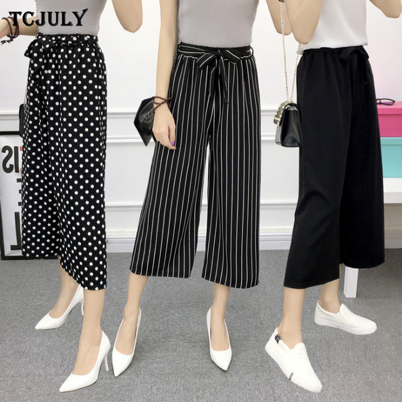 TCJULY Summer Wear Loose Casual Wide Leg Pants Fashion Stripes Plaid Dot Printed Cropped Trousers For Women Knitted Capris Pants