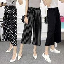 TCJULY Summer Wear Loose Casual Wide Leg Pants Fashion Stripes Plaid Dot Printed