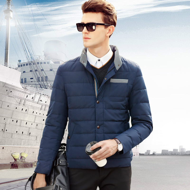 Winter mens lightweight down comforters Handsome coat Casual cotton jacket collar Slim short down jacket thicker section