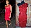 Alta Qualidade Bainha Um Ombro Lace Red Celebrity Dress 2017 Tapete vermelho Vestido de Festa de Renda Sexy Clube vestidos de festa curto