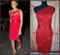High Quality Sheath One Shoulder Red Lace Celebrity Dress 2017 Red Carpet Lace Party Dress Sexy Club vestidos de festa curto