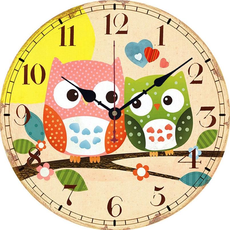 New Wall Clock European American Country Retro Big Wall Clock Owl Series Wall Clock Modern Design Duvar Saati Home Decoration