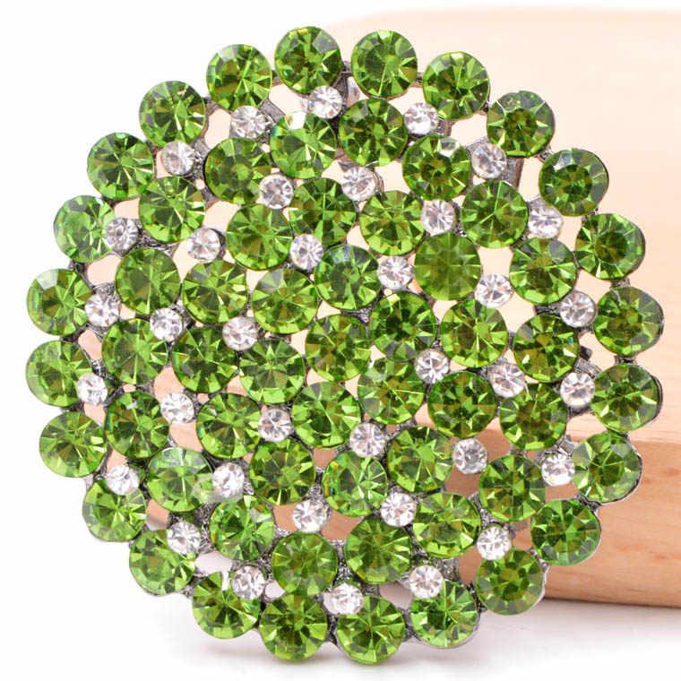 CINKILE Новый горный хрусталь большой круглый цветок броши для женщин Стильная; 2 уровня стиль брошь на платье ювелирные изделия 4 цвета в наличии