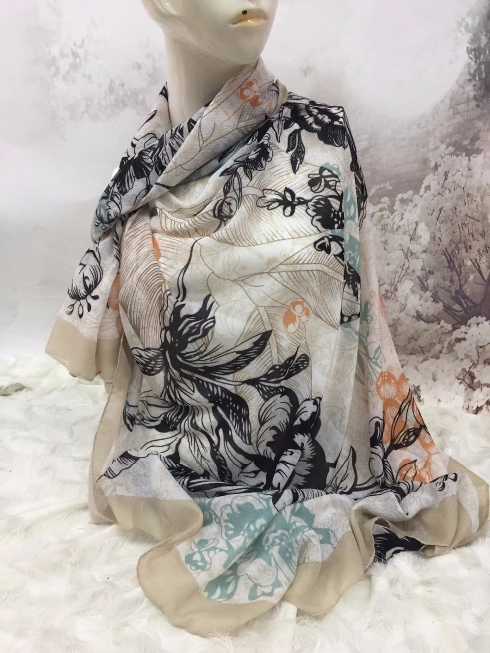 2018 Fashion Big Rose Print   Scarves   Shawl Women Floral Leaves Fruit Print Cotton   Scarf     Wrap   Hijab Muffler 6 Color Free Shipping