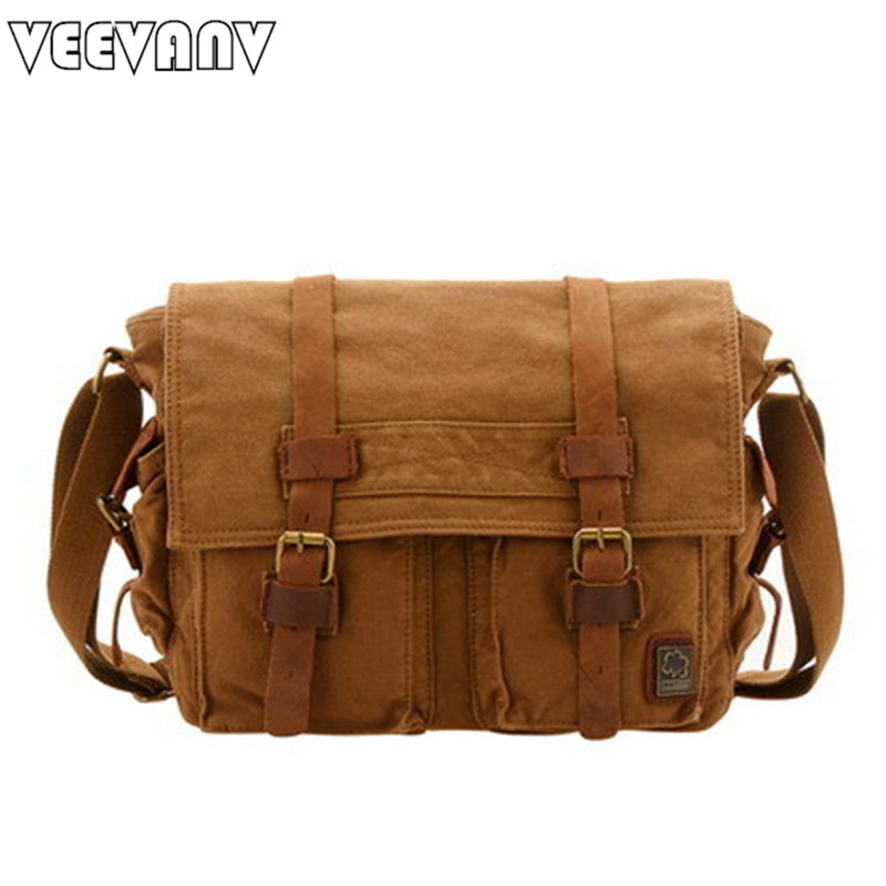 VEEVANV 2018 new canvas men messenger bag leisure school hand bag vintage canvas travel postman shoulder bags business briefcase japanese pouch small hand carry green canvas heat preservation lunch box bag for men and women shopping mama bag