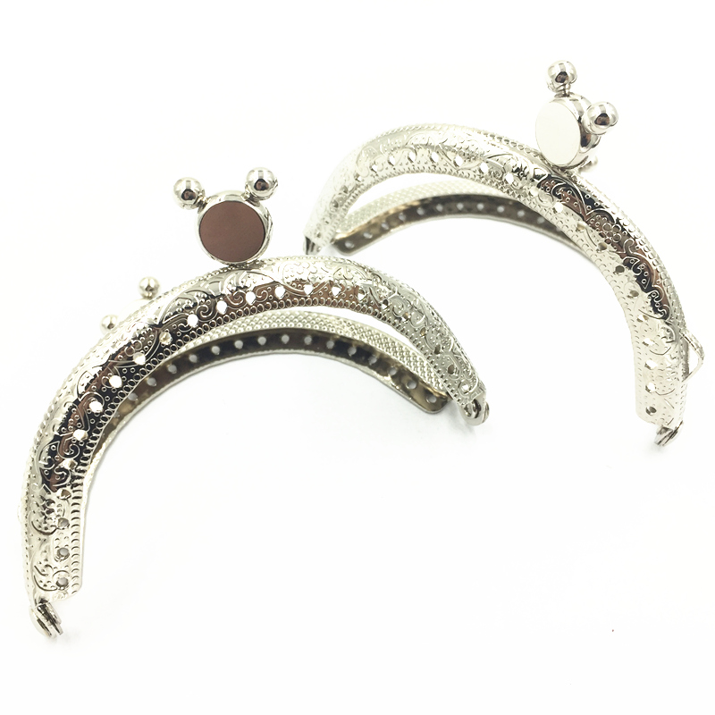 1Pc Kiss Clasps Lock Clutch Purse Bag Handbag DIY Handle Accessories Silver Tone Metal Arch Frame Mouse Heads 85x62mm
