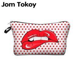 Jom Tokoy печати Макияж сумки с разноцветным узором милые косметические сумки для путешествий дамы чехол для женщин косметичка
