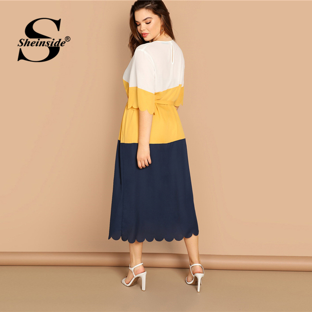 Sheinside Plus Size Scallop Trim Patchwork Dress Women 2019 Spring Elegant Belted Midi Dresses Casual Half Sleeve Straight Dress 1