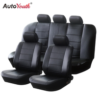 AUTOYOUTH PU Leather Car Seat Covers Universal Full Synthetic Set Full Automobile Seat Covers