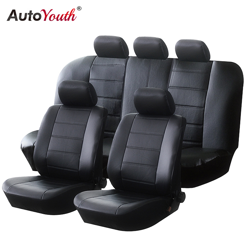 все цены на AUTOYOUTH PU Leather Car Seat Covers Universal Full Synthetic Set Full Automobile Seat Covers онлайн
