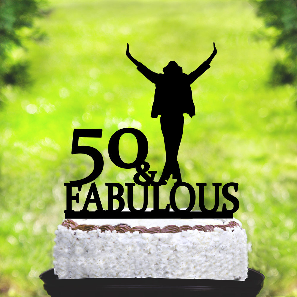 Personalized Name Happy Birthday Cake TopperMichael Jackson 50 Fabulous Topper Custom Age Party Decor