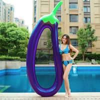 220*110cm Inflatable Giant Eggplant Pool Float Mattress Sunbathe Bed Swimming Ring Circle Beach Mat Water Party Toys Kids Adults