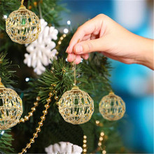 6 Pcs Glitter 5/6cm Christmas Tree Hollow Out Balls Xmas Tree Gold Ball Decorations Christmas Ornaments Party Wedding Home Decor