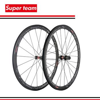 SuperTeam pełna węgla 700C szosowy zestaw kół rowerowych 38mm Clincher rowerów wheelet z DT piasty tanie i dobre opinie 20-24H Glossy Rowery drogowe CARBON V hamulca SuperTeam 38mm carbon wheelset T700C DT240 Black Fit for shiman0 8 9 10 11 speed