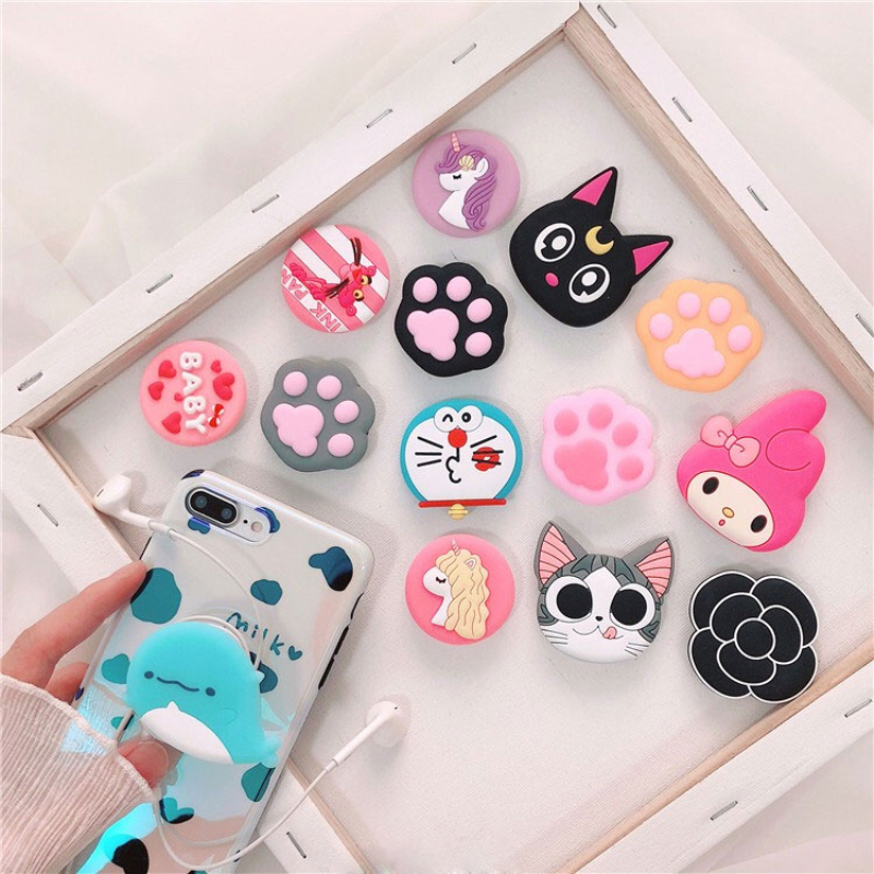 Universal Mobile phone Stand Finger car Holder bracket Expanding Stand and grip for iphone xiaomi mi9 redmi note 7 Cute Doraemon Car phone