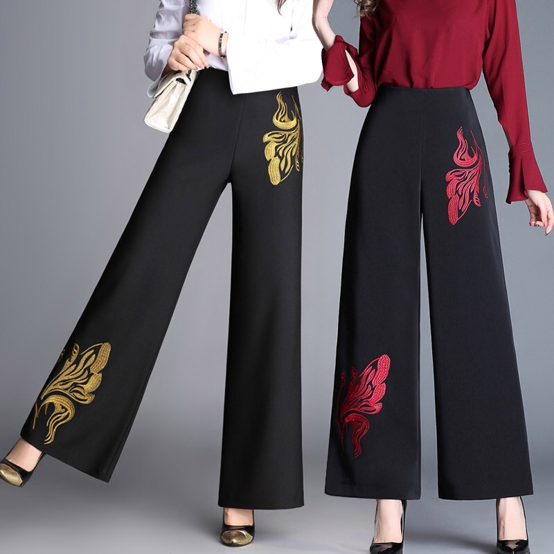 Spring Fall Office Lady Womens Wide Leg High Waited Black Pants With Golden Red Flower ,  Fashion Embroidery Elegant Trousers