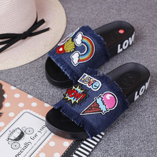 New Women's Sandal Styles Cartoon Patch Embroidery Tassel Flat With Open-toed Slip Holiday Shoes 2016 Comfort Cheap Slippers