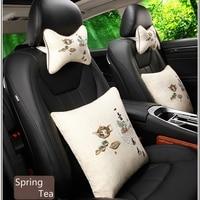 Hot Selling 4pcs Car Seat Neck Head Pillow Soft Back Cushion Headrest Neck Pillow Car Seat