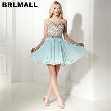 980e2dfd3b BRLMALL Fashion Light Blue Short Homecoming Dresses Beaded Shiny Crystal  Sweetheart Backless Mini Prom Dress 8