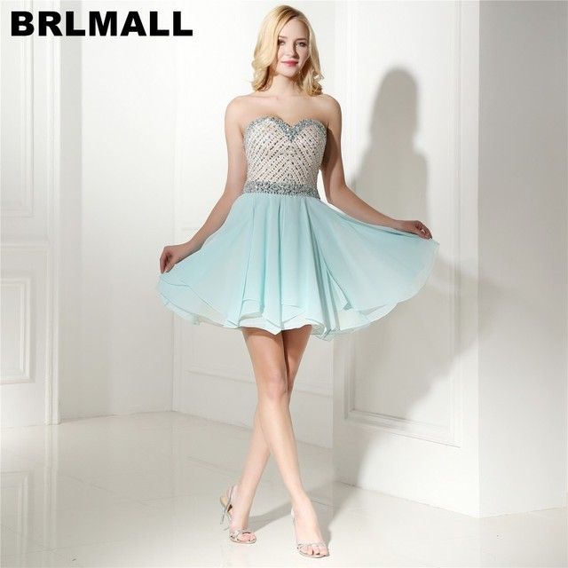 BRLMALL Fashion Light Blue Short Homecoming