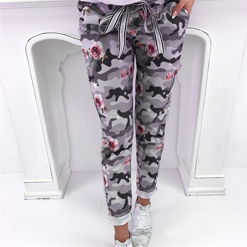 Fashion Womens Pants 2018 New Arrival Comfortable Sequins Camouflage Print Bandage Patchwork Mid Waist Long Pants Trousers F#J12 (8)
