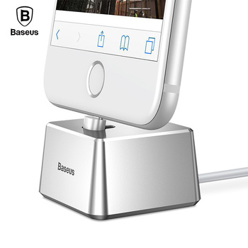 Baseus Phone Holder for iPhone XS Max XR Desktop Charging Dock Station Sync Data Charging Holder & 1M USB Cable for iPhone X 8 7