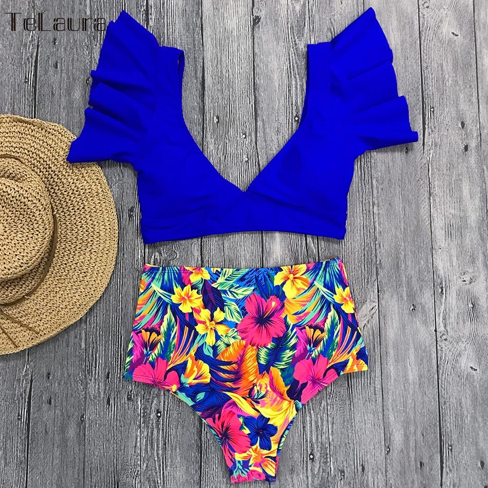 HTB1JRTZNHrpK1RjSZTEq6AWAVXay Ruffle High Waist Bikini 2019 Swimwear Women Swimsuit Push Up Bikinis Women Biquini Print Swimsuit Female Beachwear Bathing Suit