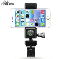 PINZHENG Compass Bicycle Phone Holder For iPhone Xs Max 8 Universal Mobile Phone Holder Bike Clip Stand LED Light GPS Holders