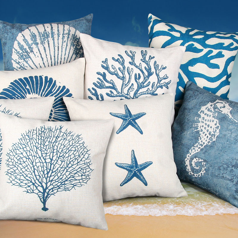 style cushion cover blue sea throw pillow case decorative coral almofada beach decor shell cojines