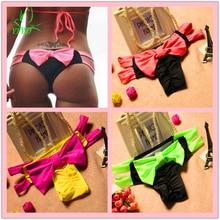 Más barato Sexy Bowknot Grande Patchwork Thong Bikini Bottom 2017 T-back Mujeres de Cadena del traje de Baño Ropa de Playa traje de Baño Traje de Baño Femenino