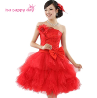 Strapless vrouw junior bruidsmeisje partij rode goedkope jurk sweetheart korte elegante meisjes bruidenmeisje jurken met een boog B418