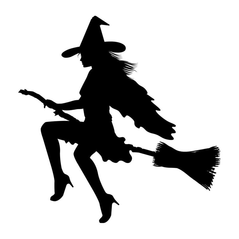 18.1*18.5 см мода сексуальная ведьма страшный автомобиль наклейки личности светоотражающие Водонепроницаемый Этикеты винила черный/серебристый С7-0843