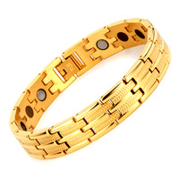 24K Gold Jewelry charm Men's bracelet Stainless Steel Magnetic germanium Energy Bracelet Fashion Trendy Healing Bracelets