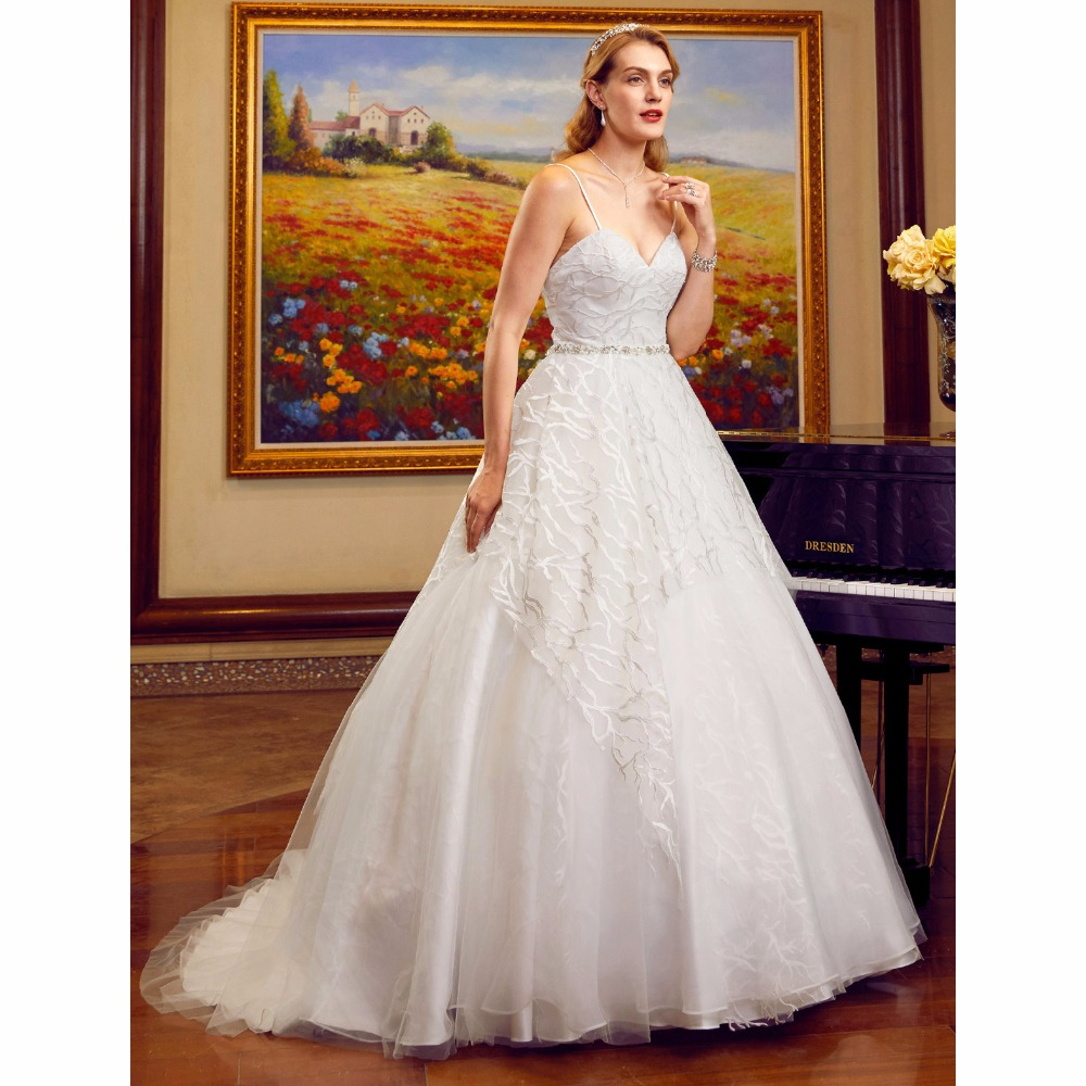 LAN TING BRIDE Ball Gown Wedding Dress Spaghetti Straps Cathedral Train Lace Tulle Bridal Gown with Beading Appliques Lace Sashe