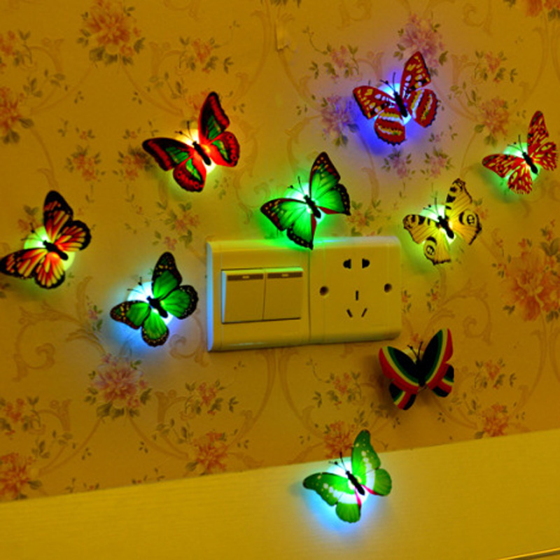 5pcs Butterfly Colorful Changing LED Night Light Lamp Room Party Desk Wall Decor