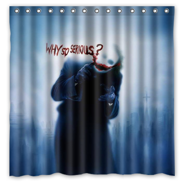"DIY Bath Curtain!Batman Funny Role&Joker Quote""Why So Serious""  Printed Waterproof Polyester Shower Curtain(Size:180X180CM)"