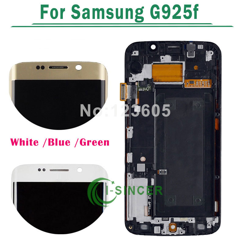 5.1 LCD For Samsung For Galaxy s6 edge G925f LCD Screen with Touch Screen Digitizer Frame Assembly White/Gold Free Shipping