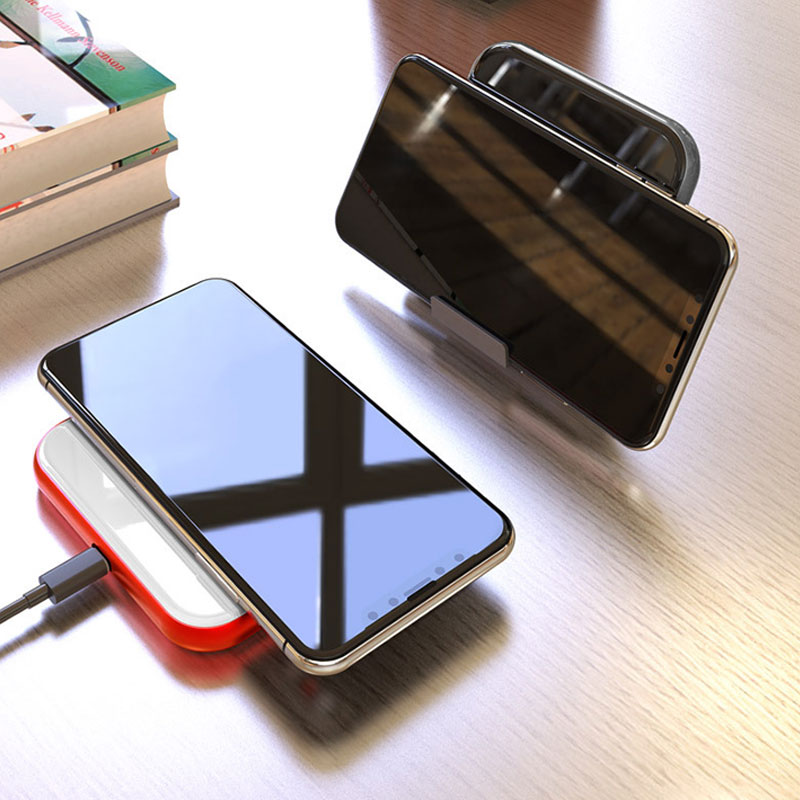 QC 3.0 Aluminum Alloy Tempered Glass Wireless Charger 10W Vertical Fast Charge Desktop Phone Holder for iPhone X 8 Plus Samsung