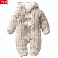 IYEAL Thick Warm Infant Baby Rompers Winter Clothes Newborn Baby Boy Girl Knitted Sweater Jumpsuit Hooded