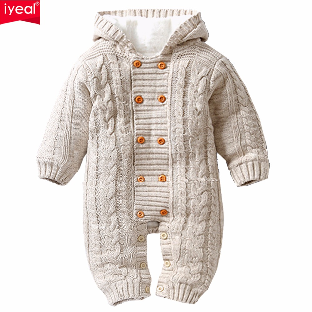 IYEAL Thick Warm Infant Baby Rompers Winter Clothes Newborn Baby Boy Girl Knitted Sweater Jumpsuit Hooded Kid Toddler Outerwear 2017 new baby rompers winter thick warm baby girl boy clothing long sleeve hooded jumpsuit kids newborn outwear for 1 3t
