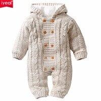 Iyeal厚い暖かい幼児ベビーロンパース冬服新生児男の子女の子ニットセータージャンプスーツフード付きキッド幼児アウター