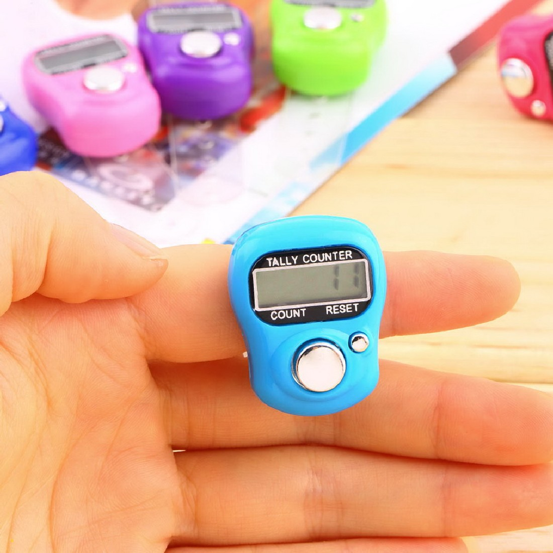 Mini Stitch Marker And Row Finger Counter LCD Electronic Digital Tally Counter For Sewing Knitting weave Tool(China)