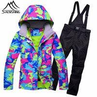 SAENSHING Ski Suit Women Winter Outdoor Ski Suit Waterproof Super Warm Mountain Skiing Suits For Women