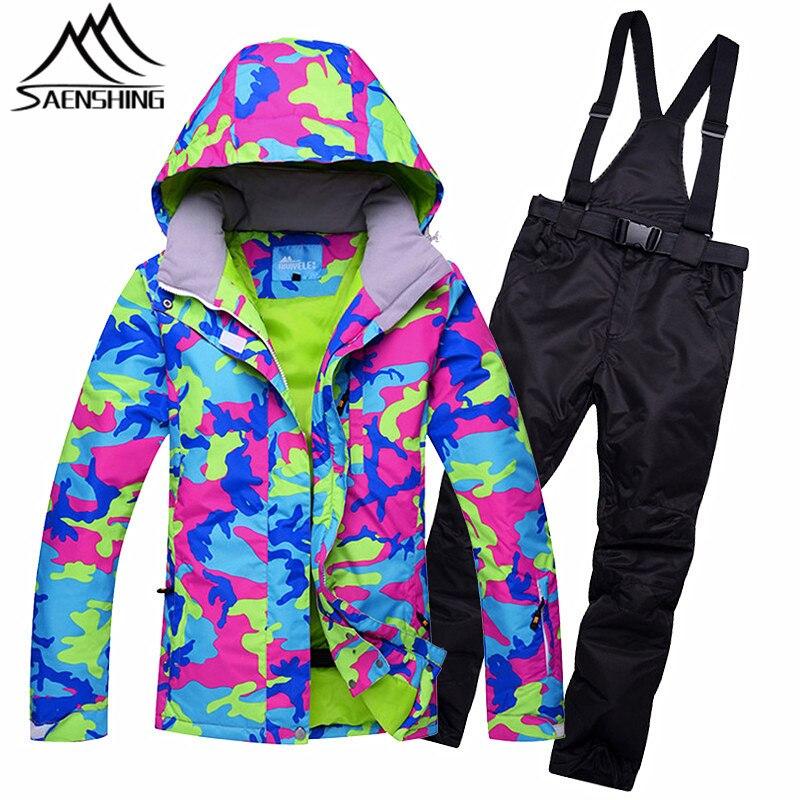 SAENSHING Combinaison De Ski Femmes Hiver En Plein Air Combinaison de Ski Imperméable Super Chaud Montagne Ski Costumes pour Femmes Neige Snowboard Costumes