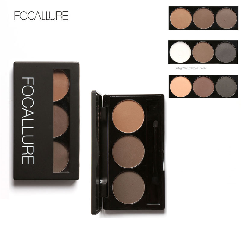 FOCALLURE Waterproof Eye Shadow Alis Powder Make Up Palette Wanita Kecantikan Kosmetik Alis Mata Makeup Kit Set 3 Warna