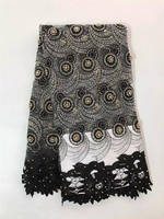 Incrível Francês da tela do laço com pedras e pérolas para o partido vestido de tule lindo tecido Africano net renda tecido preto branco PG472